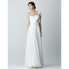 Stylish Modern One Shoulder Chiffon Floor Length Sheath Wedding Dress