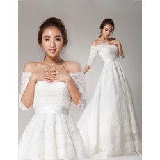 Affordable Romantic Off-the-shoulder Half Sleeves Lace Sweep Train A-Line Wedding Dress