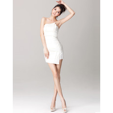 Women's Informal Sheath/ Column Strapless Satin Mini Beach Wedding Dress