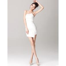 Women's Informal Sheath/ Column Strapless Satin Mini Beach Wedding Dress