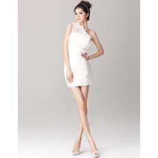 Affordable Charming One Shoulder Sheath Chiffon Short Beach Wedding Dress