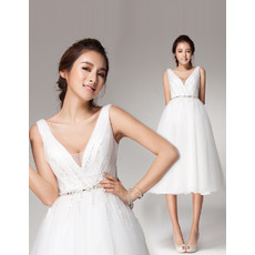 Chic V-Neck High Waist Open Back Organza A-Line Short Reception Wedding Dress