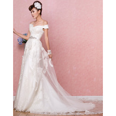 Affordable Timeless Off-the-shoulder Brush/ Sweep Train Satin Wedding Dress