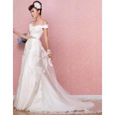 Affordable Timeless Off-the-shoulder Brush/ Sweep Train Satin Wedding Dress
