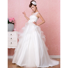 Affordable Timeless One Shoulder A-Line Sweep Train Satin Wedding Dress