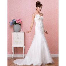 Affordable Modern A-Line Sweetheart Brush/ Sweep Train Satin Organza Wedding Dress