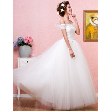 Affordable Romantic Off-the-shoulder Ball Gown Organza Floor Length Wedding Dress