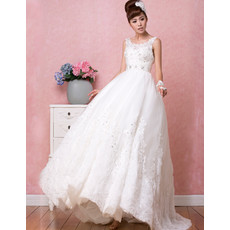 Stunning Modern A-Line Satin Scoop Brush/ Sweep Train Wedding Dress