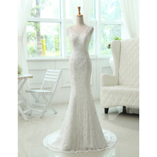 Affordable Custom Elegant Mermaid/ Trumpet Lace Brush Train Wedding Dress for Spring