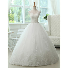 Cheap Classic A-Line V-Neck Floor Length Lace Organza Wedding Dress