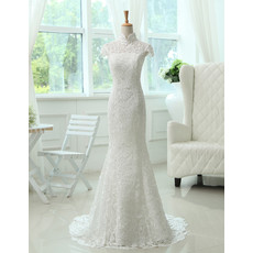 Affordable Custom Elegant Mandarin Collar Lace Mermaid Sweep Train Wedding Dress