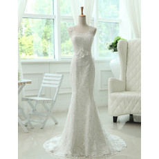 Custom Elegant Mermaid/ Trumpet Lace Sweep Train Wedding Dress