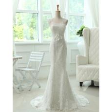 Custom Elegant Mermaid/ Trumpet Lace Sweep Train Wedding Dress