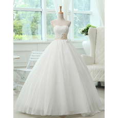 Inexpensive Classic A-Line Sweetheart Floor Length Satin Wedding Dress