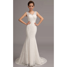 Elegant Lace Mermaid V-Neck Brush/ Sweep Train Wedding Dress