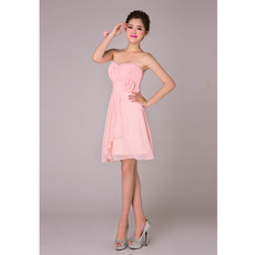 Affordable Simple A-Line Sweetheart Short Chiffon Bridesmaid Dress for Bridal Party
