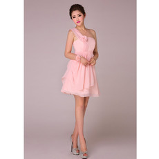 Affordable Charming A-Line One Shoulder Short Chiffon Bridesmaid Dress for Girls