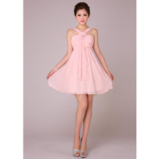 Novelty A-Line V-Neck Short Chiffon Bridesmaid Dress for Wedding Party