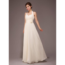 Romantic Halter Chiffon Floor Length A-Line Bridesmaid Dress for Wedding Party