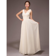 Simple Modest V-Neck Chiffon Floor Length A-Line Bridesmaid Dress for Wedding Party