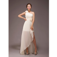 Stylish One Shoulder Asymmetric Chiffon Long Bridesmaid Dress for Wedding Party