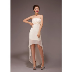 Modern Asymmetric High-Low Strapless Chiffon Bridesmaid Dress for Wedding Party