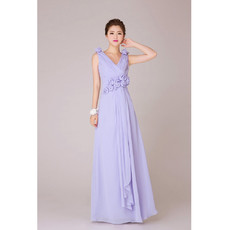 Elegant V-Neck Chiffon Floor Length A-Line Bridesmaid Dress for Wedding Party
