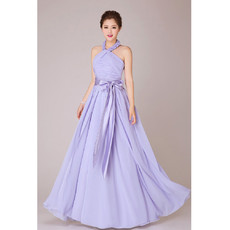 Modest Halter Chiffon A-Line Floor Length Bridesmaid Dress for Wedding Party