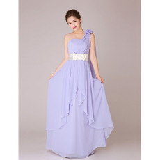 Modest One Shoulder Chiffon Long Bridesmaid Dress for Wedding for Wedding Party