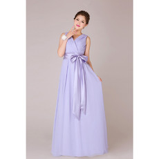 Designer V-Neck Chiffon Floor Length A-Line Bridesmaid Dress for Wedding Party