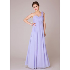 Designer Elegant One Shoulder Empire Chiffon Long Bridesmaid Dress for Wedding Party