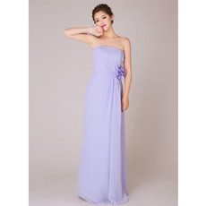 Classic Chiffon Sheath Strapless Floor Length Bridesmaid Dress for Wedding Party