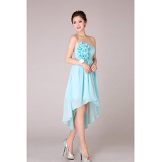 Popular High-Low Chiffon Strapless Bridesmaid Dress for Wedding Under 100
