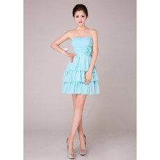 Amazing Tiered Skirt Short Chiffon Sweetheart Bridesmaid Dress Under 100