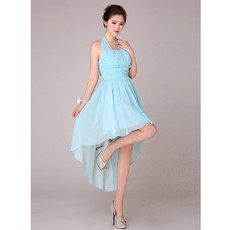 Beautiful Asymmetric High-Low Halter Chiffon Empire Bridesmaid Dress for Wedding Party