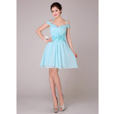 Affordable Designer Spaghetti Straps Short Chiffon Bridesmaid Dress for Girls