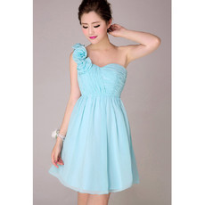 Affordable Modern One Shoulder Short Chiffon Empire Bridesmaid Dress for Girls