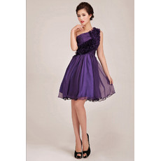 Affordable Stunning One Shoulder Short A-Line Ruffle Bridesmaid Dress for Girls