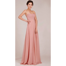 Classic Sweetheart Chiffon Floor Length Empire Bridesmaid Dress for Girls