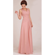 Classic Sheath V-Neck Floor Length Chiffon Bridesmaid Dress for Girls