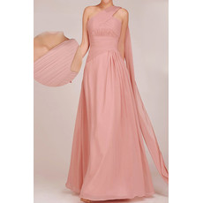 Classic One Shoulder Floor Length Chiffon A-Line Bridesmaid Dress for Girls