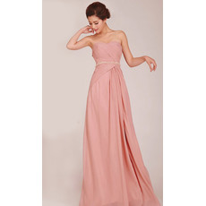 Simple A-Line Sweetheart Long Chiffon Bridesmaid Dress for Girls