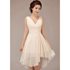 Best Charming A-Line V-Neck Short Chiffon Bridesmaid Dress for Girls
