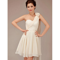 Beautiful One Shoulder Short Chiffon Bridesmaid Dress for Wedding