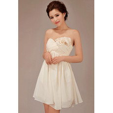 Simple Short Empire Waist Sweetheart Chiffon Bridesmaid Dress for Girls