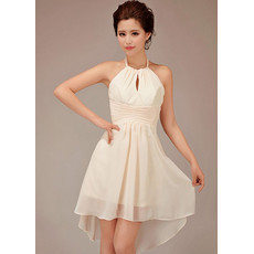 Designer Cute Halter Short Chiffon Bridesmaid Dress for Summer Beach Wedding