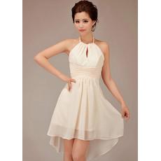 Designer Cute Halter Short Chiffon Bridesmaid Dress for Summer Beach Wedding