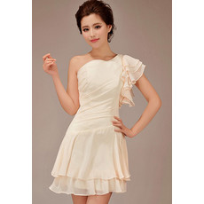 Affordable Stunning One Shoulder Asymmetric Short Chiffon Bridesmaid Dress for Girls