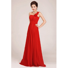 Affordable One Shoulder Floor Length Chiffon Empire Bridesmaid Dress