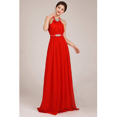 Affordable Amazing Halter Column Chiffon Floor Length Bridesmaid Dress